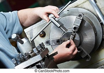 processo, lavorazione a macchina, metallo, vuoto