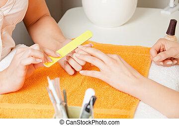 processo, manicure, femmina porge