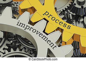 processo, melhoria, conceito, ligado, a, engrenagens, 3d, fazendo