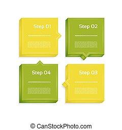 processo, -, setas, quatro, desenho, vector., passos, element.