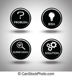 processo, soluzione problemi, icone
