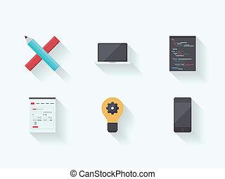 processo, web, tecnologia, appartamento, icone