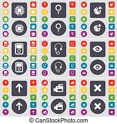Processor, Checkpoint, Pizza, Player, Headphones, Vision, Arrow up, Film camera, Stop icon symbol. A large set of flat, colored buttons for your design. Vector
