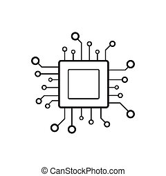 Processor chip vector icon for graphic design, logo, web site, social media, mobile app, ui illustration