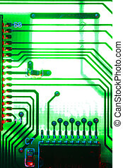 processor - close-up of computer printed circuit board.