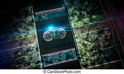 Gaming, fun, esport, cyber game, digital sport and entertainment production line abstract 3d rendering loopable seamless animation. Processor factory with laser burning symbol.