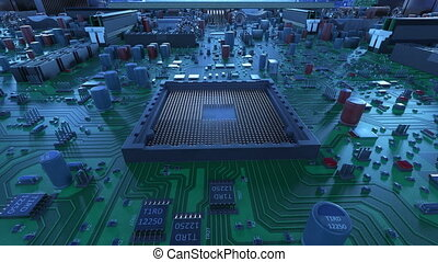 Processor Installation on the Motherboard Process with Blue...