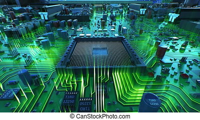 Processor Installation on the Motherboard Process with Green...