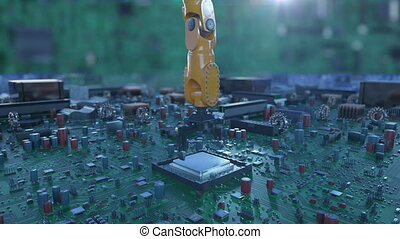 Processor Installation Process on the Circuit Board with...