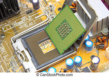 Processor on the yellow computer motherboard