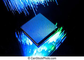 PC processor on fiber background. Studio shot