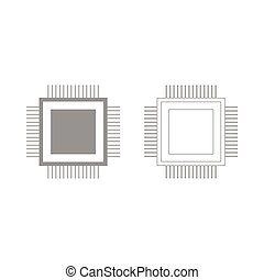 Processor the grey set icon .