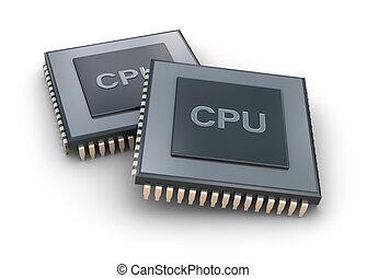 processore, unità, isolato, concetto, 3d
