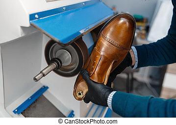 processos, único, sapateiro, sapato, reparar, calçado