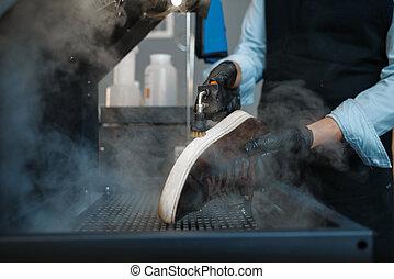 processos, sapatos, especiais, máquina, sapateiro