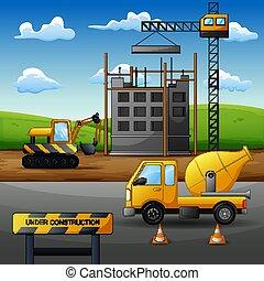 processus, équipement, construction, concept, site