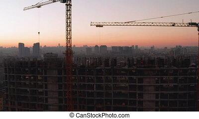 processus, aérien, construction, coup, bâtiment