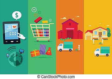 processus, achat, ligne, internet