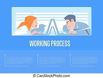 processus, bannière, business, gens fonctionnement