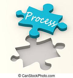 processus, bleu, puzzle
