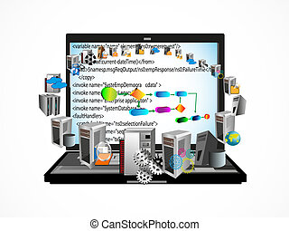 processus, codage, business, logiciel