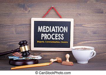 processus, communication, concept., médiation, bois, closure...