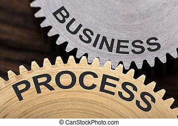 processus, concept, roues dentées, business, enclenché