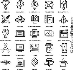 processus, créatif, icônes