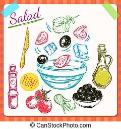 processus, cuisine, salade, illustration
