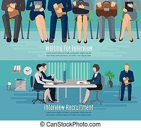 processus, embauche, ensemble, bannière