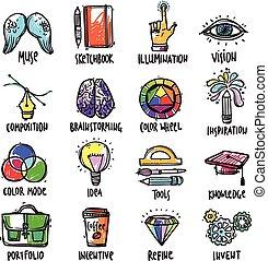 processus, ensemble, créatif, icônes