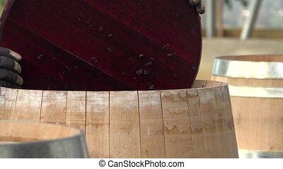 processus, fermentation, pendant, mélange, baril vin
