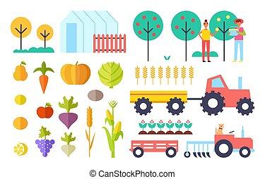 processus, légumes, vecteur, illustration, récolte