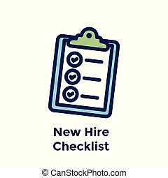 processus, liste contrôle, embauche, employé, nouveau, :, icône