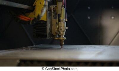 processus, métal, découpage, laser, étincelles