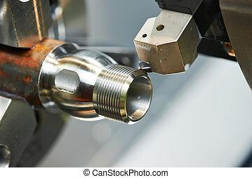 processus, machine-outil, métal, moudre