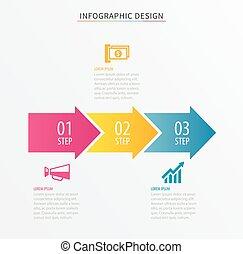 processus, nombre, template., design., données, bannière, arrière-plan., 3, infographics, être, utilisé, business, flot travail, options, diagramme, disposition, étape, toile, diagramme, vecteur, boîte, flèche