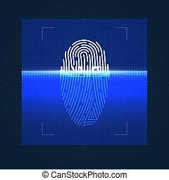 processus, numérique, concept, fingerprint., vecteur, biometric, illustration., sécurité, identité, control.