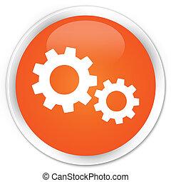 processus, orange, bouton, icône