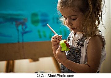 processus, peu, chevalet, peinture, girl