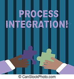 processus, photo, puzzle, s'enclencher, signe, business, puzzle, deux, tenue, texte, conceptuel, evénements, partage, coloré, projection, entre, sur, integration., mains, morceaux, données, procédés, tiles.