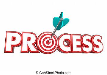 processus, procédure, système, cible, flèche, 3d, illustration