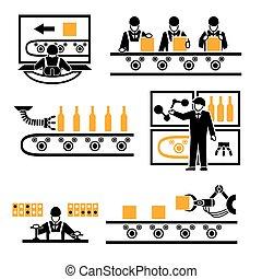 processus, production, usine, icônes