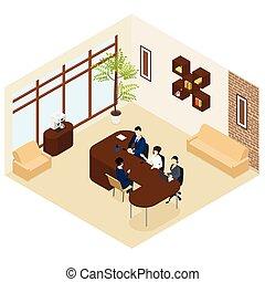 processus, recrutement, isométrique, business, gabarit