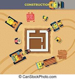 processus, sommet, construction, illustration, vue