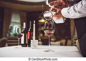 processus, verre, remplissage, vin