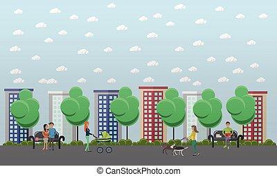 procházka od park, pojem, vektor, ilustrace, byt, móda, design