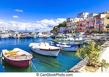 procida, île, italie, ensoleillé, coloré