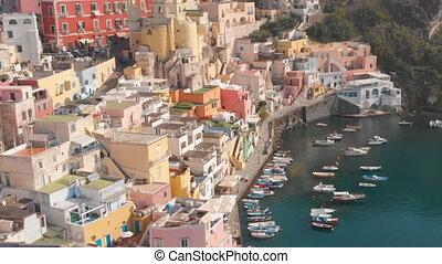 procida, 마을, 공중선, 이탈리아, 어부, 보이는 상태, corriccella, 나폴리, 섬