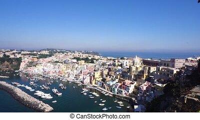 Procida island, Italy - Procida island skyline with colorful...